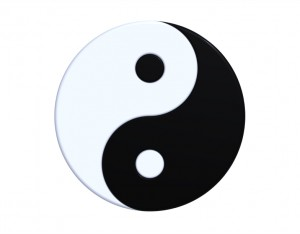 Ying-yang symbol isolated on white, 3d render